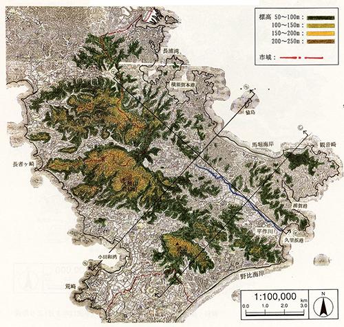 明治16年(1883年)の横須賀市の地形